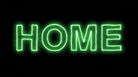 Neon flickering green text HOME in the haze. Alpha channel Premultiplied - Animation