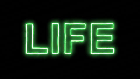 Neon flickering green text LIFE in the haze. Alpha channel Premultiplied - Animation