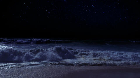 Ocean waves on a starry night Footage