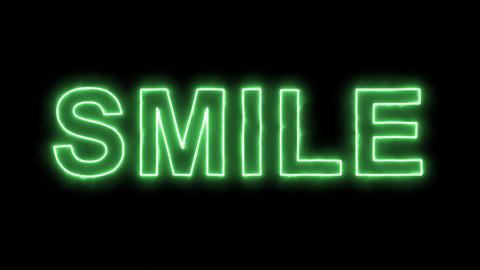 Neon flickering green text SMILE in the haze. Alpha channel Premultiplied - Animation
