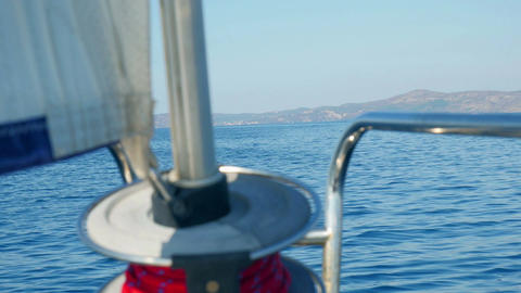Viewing at blue Adriatic sea from bow of moving sailing boat Footage