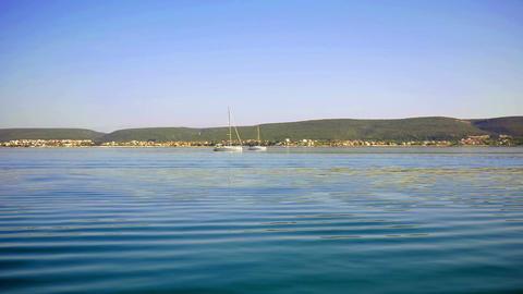 CROATIA, ADRIATIC SEA, 2017.11.07: Sailing along Croatian coastline on sunny day Footage