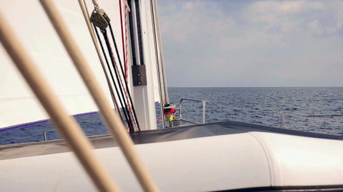 Sailing in Adriatic sea view from cockpit of sailing boat looking at bow Footage