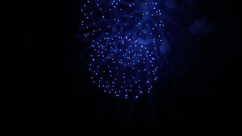 Colorful fireworks in the night sky. Slow motion Footage