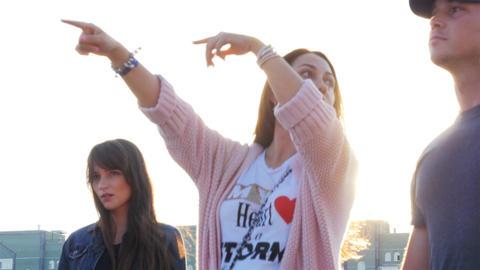 Camera Shows Beautiful Long Haired Girls Enjoying Festival Footage