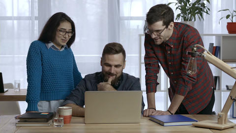 Business team works on project together at office Footage