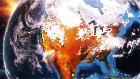 3D Earth in DayLight FlyBy Over North America USA Intro Motion Background Animation