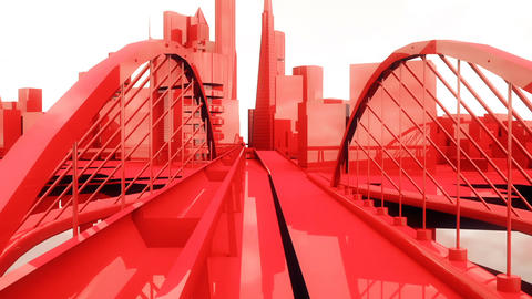 Abstract animation of a camera moving among urban red city buildings Animation