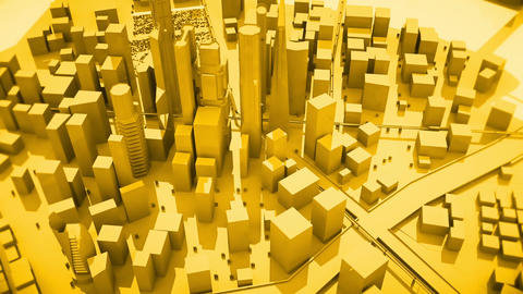 Abstract animation of a camera moving around the yellow city buildings Looping Animation