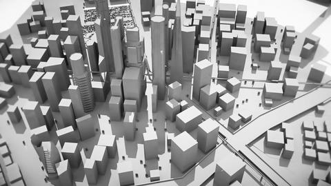 Abstract animation of a camera moving around the black-white city buildings Animation