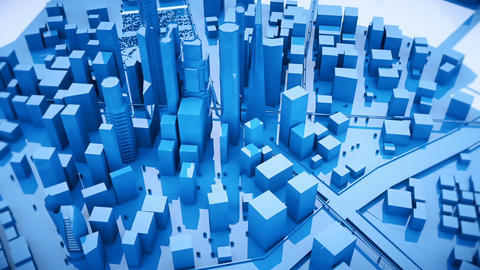 Abstract animation of a camera moving around the blue city buildings Looping Animation