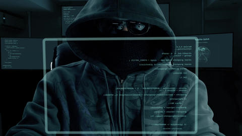 Male hacker typing program code. Dark night man at virtual screen coding Live Action