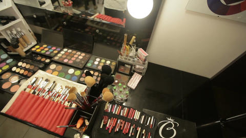 Professional cosmetics in the salon of a make-up artist. Luxurious make-up Live Action