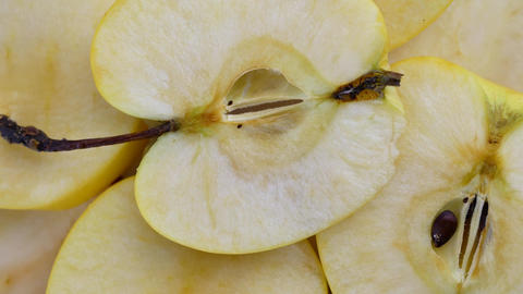 Slice of apples are spinning Live Action