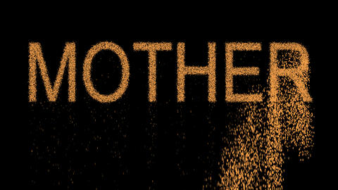 text MOTHER appears from the sand, then crumbles. Alpha channel Premultiplied - Animation