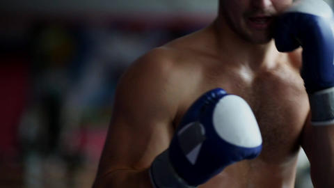 Man with Boxing gloves Boxing in front of the camera close up. Close-up of young Footage