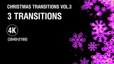 3-in-1 (4K) Christmas Snowflakes Transitions vol.3 - purple Animation