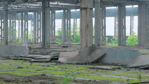The ruined building of an abandoned factory Footage