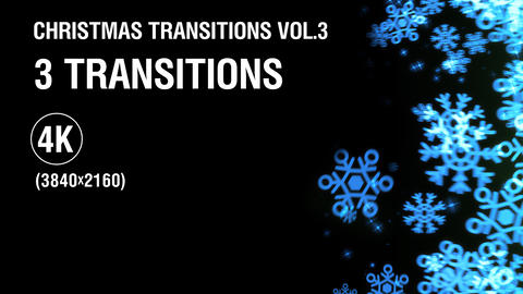 3-in-1 (4K) Christmas Snowflakes Transitions vol.3 - blue Animation