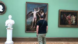 man, examines, paintings, in Tretyakovskaya gallery, Moscow 2017 Image