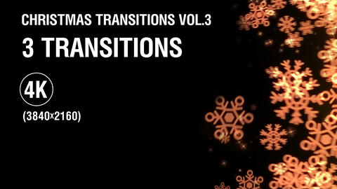 3-in-1 (4K) Christmas Snowflakes Transitions vol.3 - gold Animation