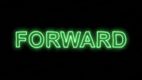 Neon flickering green text FORWARD in the haze. Alpha channel Premultiplied - Animation