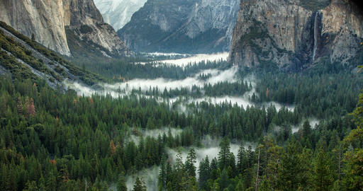 Morning Yosemite Valley Time Lapse Fog Footage