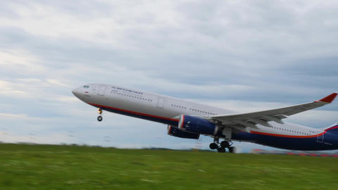 MOSCOW, RUSSIA - JULY 15, 2017: Aeroflot Airbus A330 takes off at Sheremetyevo Footage