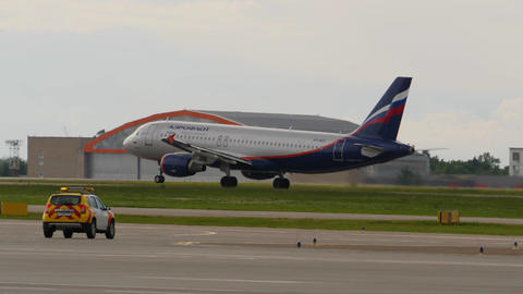 MOSCOW, RUSSIA - JULY 15, 2017: Aeroflot Airbus A320 takes off at Sheremetyevo Footage
