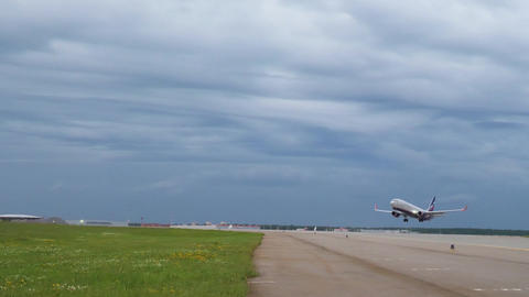 MOSCOW, RUSSIA - JULY 15, 2017: Aeroflot Boeing 737 takes off against stormy sky Footage