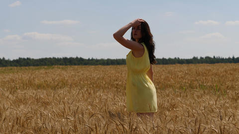 Woman in yellow dress looks around the wheatfield. Camera goes down into wheat Footage