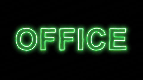 Neon flickering green text OFFICE in the haze. Alpha channel Premultiplied - Animation