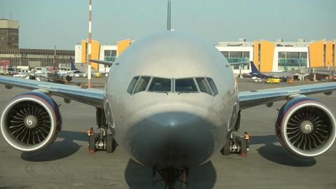 Airplane being preparing in airport Footage