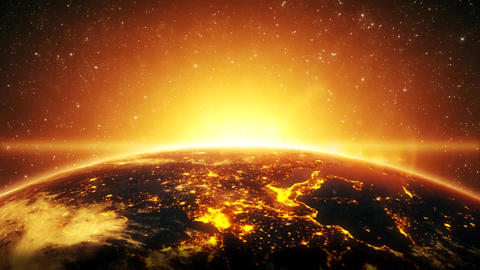 3D Earth by Night Close Up with Rising Sun Intro Logo Background CG動画素材