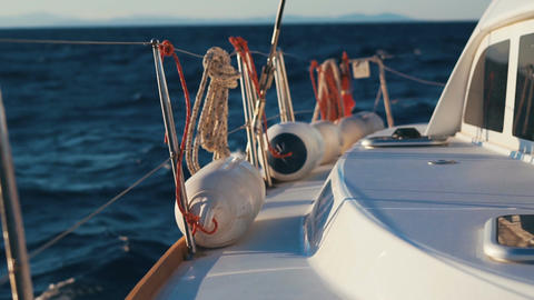 Luxury catamaran sailing race through deep blue Aegean sea Footage