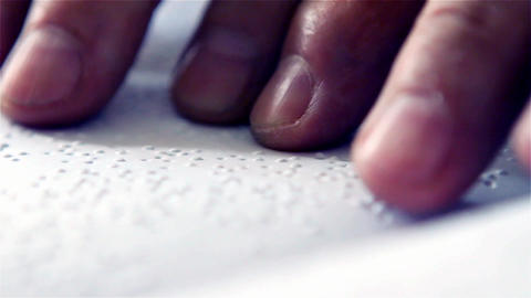 Hands of a Man Reading Braille, Close Shot Footage