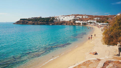 Agios Stefanos Beach of Mykonos island, Greece Footage