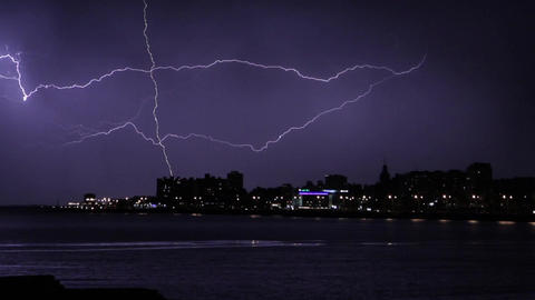 Gigantic Lightning in the Stormy Night of Montevideo Image