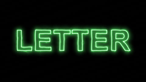 Neon flickering green text LETTER in the haze. Alpha channel Premultiplied - Animation
