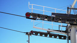 Cable Car Tower Closeup Of Rolling Wheels Filmmaterial