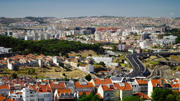 Aerial Panoramic View Over Lisbon City In Portugal And Busy Car Traffic Footage