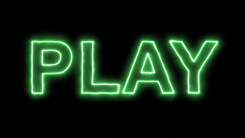 Neon flickering green text PLAY in the haze. Alpha channel Premultiplied - Animation
