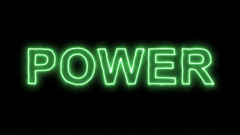 Neon flickering green text POWER in the haze. Alpha channel Premultiplied - Animation