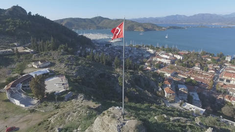 Fethiye Castle With Turkish Flag Footage