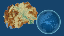 Macedonia and Globe. Relief Animation