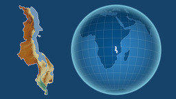 Malawi and Globe. Relief Animation