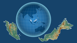 Malaysia and Globe. Relief Animation