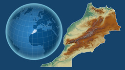 Morocco and Globe. Relief Animation
