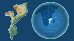 Mozambique and Globe. Relief Animation