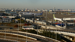 High angle timelapse of transportation surrounding Haneda International Airport Footage